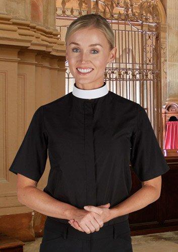 Women's Classic Neckband Collar Short Sleeve Clergy Shirt