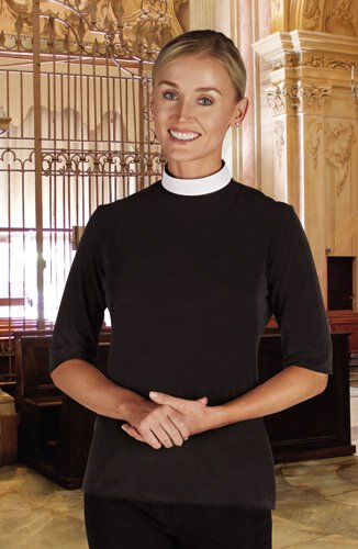 Women's Jersey Knit Neckband Collar Short Sleeve Clergy Shirt