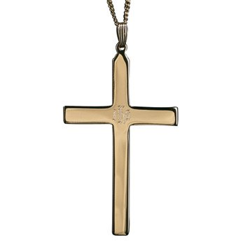 IHS Engraved Clergy Cross - Gold Plate