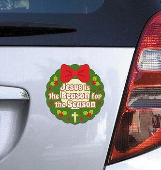 Jesus is the Reason Christmas Wreath Auto Magnet - 24/pk