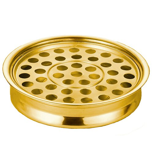 Polished Steel Stacking Communion Tray with 40-Hole Insert - Brass Tone