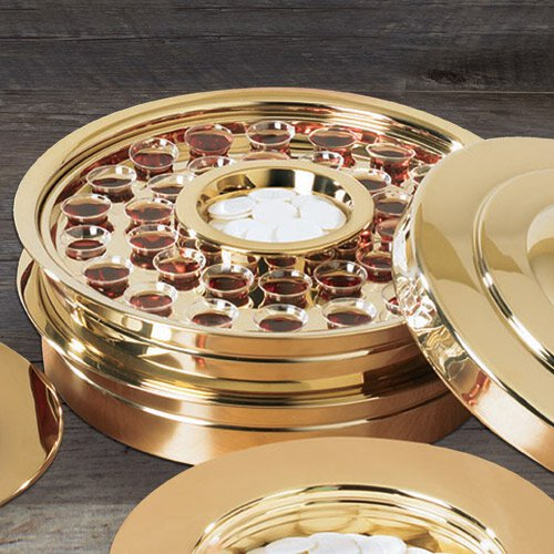 Brass Finish Stackable Communion Tray with 40-Hole Insert