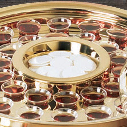 Brass Finish Communion Tray Center Bread Plate