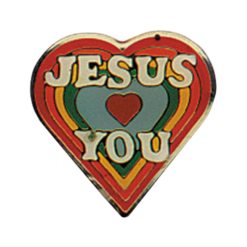Jesus Loves You Heart Lapel Pin - 25/pk