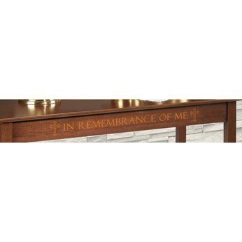 Silk-Screened In Remembrance of Me Communion Table - Walnut Stain