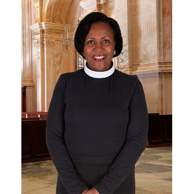 Women's Jersey Knit Neckband Collar Long Sleeve Clergy Shirt