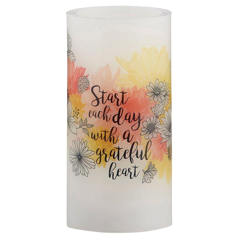 "Grateful Heart - 3"" X 6"" LED Candle"