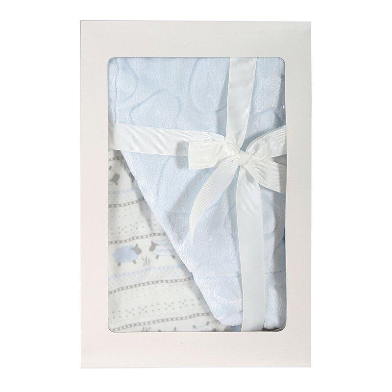 BOXED FLEECE BLANKET - BLUE LAMB
