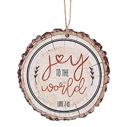 Joy to the World Wood Slice Ornament - 12/pk