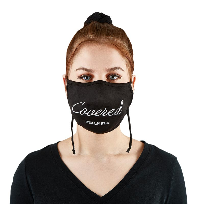Embroidered Psalm 91:4 Face Mask