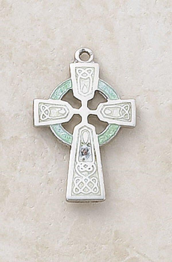 Sterling Celtic Cross Green