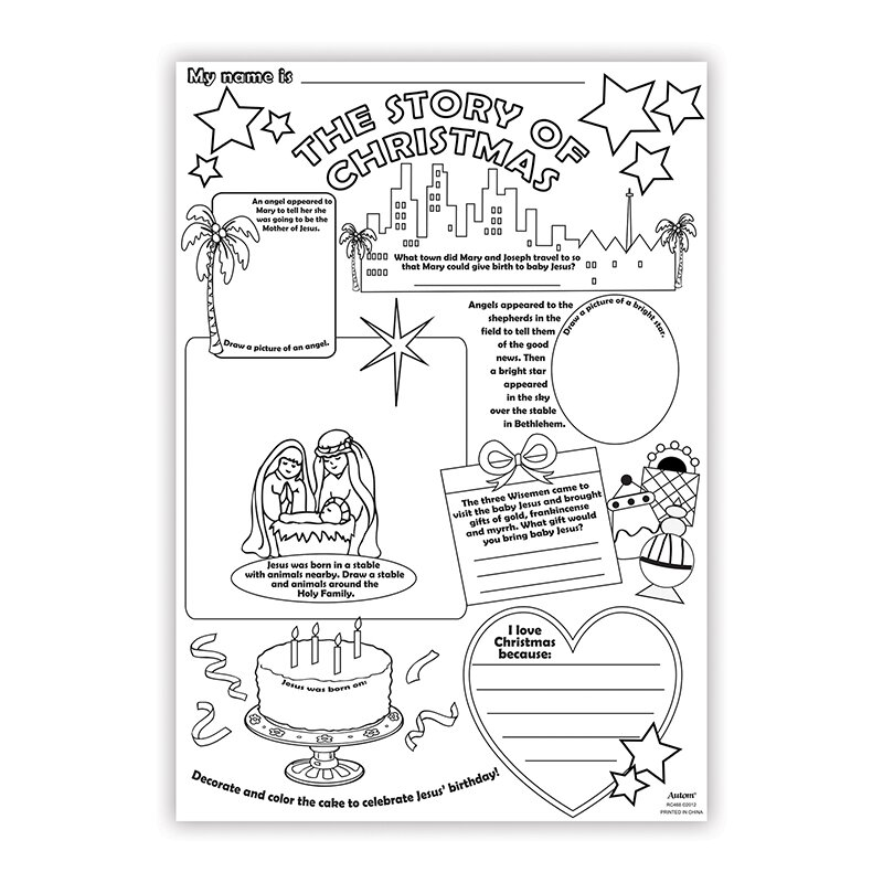 Story of Christmas Color Your Own Poster