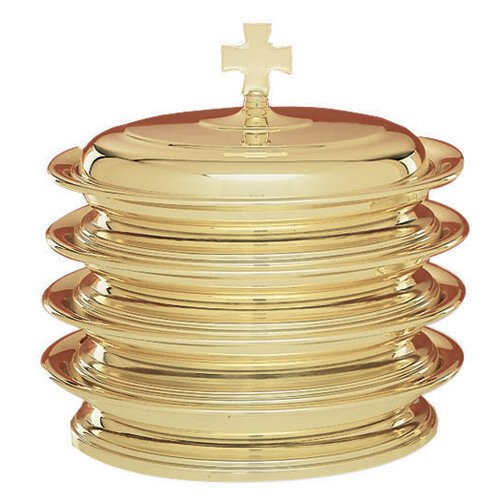 Solid Brass Self-Stacking Bread Plate Cover