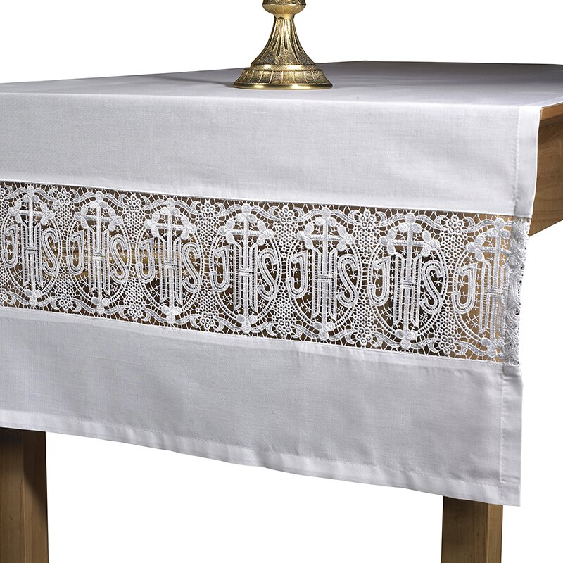 Made to order Latin Cross and Lace altar cloth