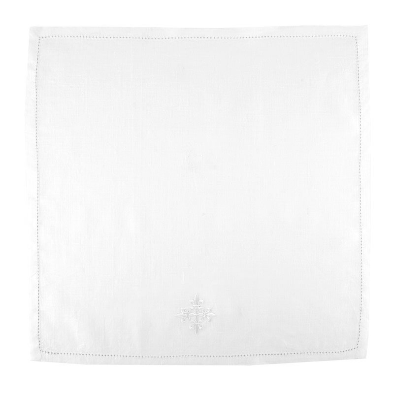 100% Linen Corporal with Fleur-de-Lis Cross - 3/pk