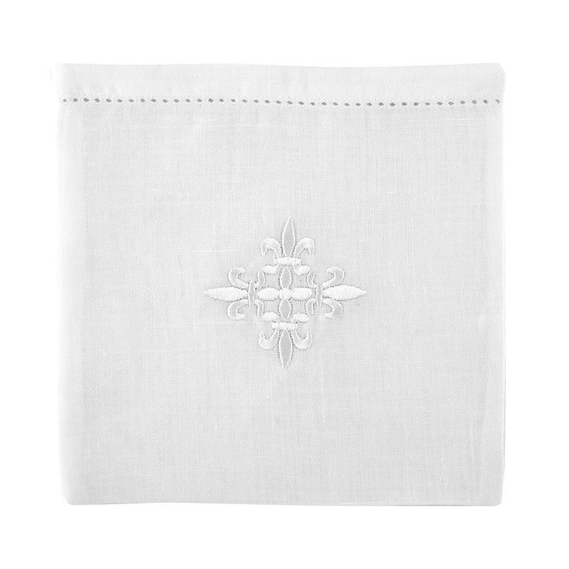 100% Linen White Fleur-de-Lis Cross Chalice Pall - 3/pk