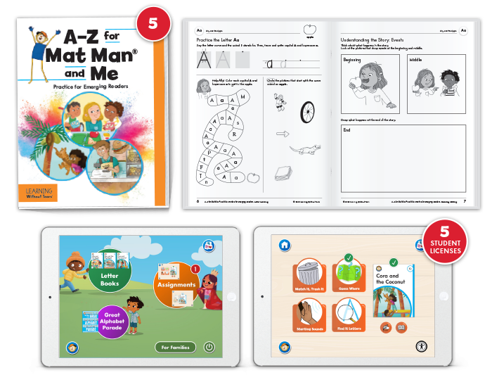A-Z for Mat Man® and Me: Practice for Emerging Readers with Student Digital License