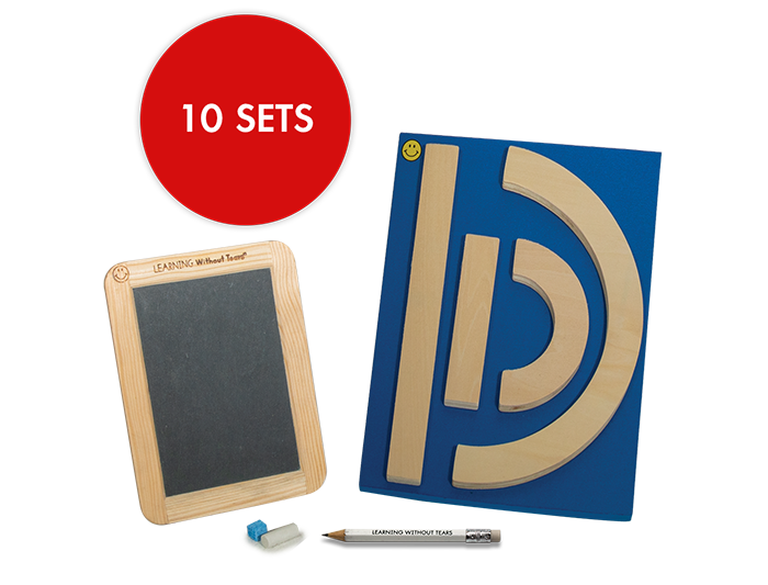 Individual Student Manipulative Pack - Wood Pieces and Slate Chalkboard (10 Sets)
