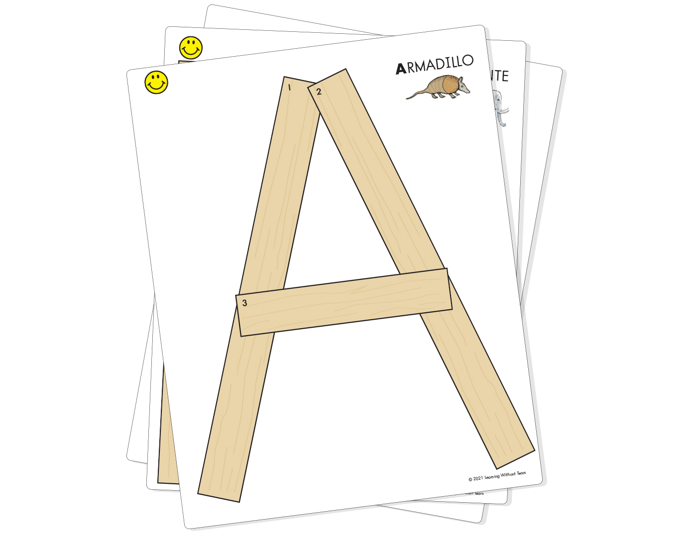 Capital Letter Cards for Wood Pieces - Laminated Spanish