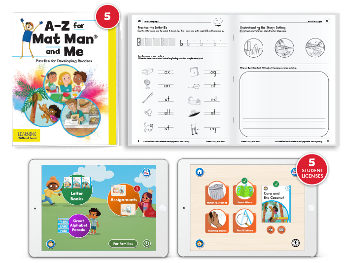 A-Z for Mat Man® and Me: Practice for Developing Readers with Student Digital License