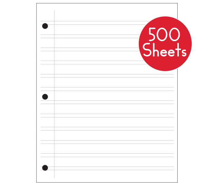 Regular Notebook Paper (500 sheets)