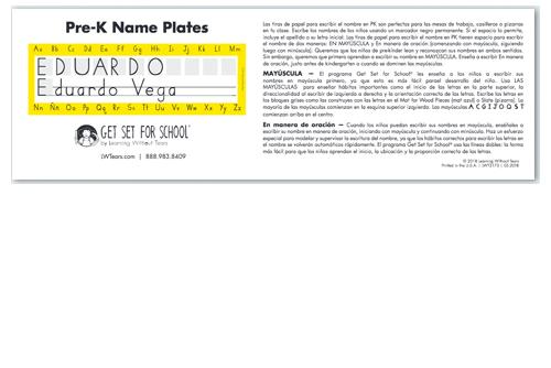 Pre-K Name Plates (Spanish)