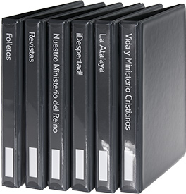 Six Individual Periodical Binders with Spanish Spine Labels