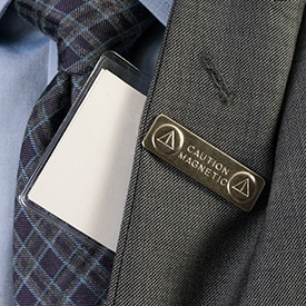 Magnetic Name Badge Card Holder on a brother's lapel