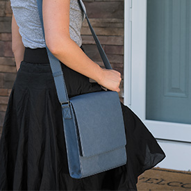 Vertical Messenger Bag over the shoulder