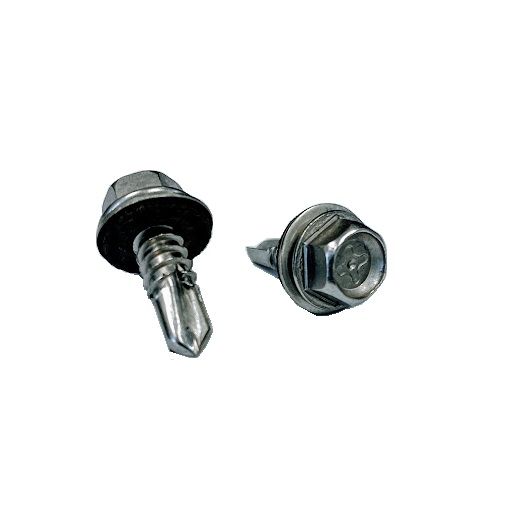 """#14 x 3/4"""" Hex Washer Head SD Screw with bonded washer 410SS"""