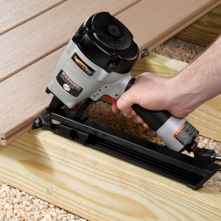 Installing a deck using the TC-G clips for grooved boards.