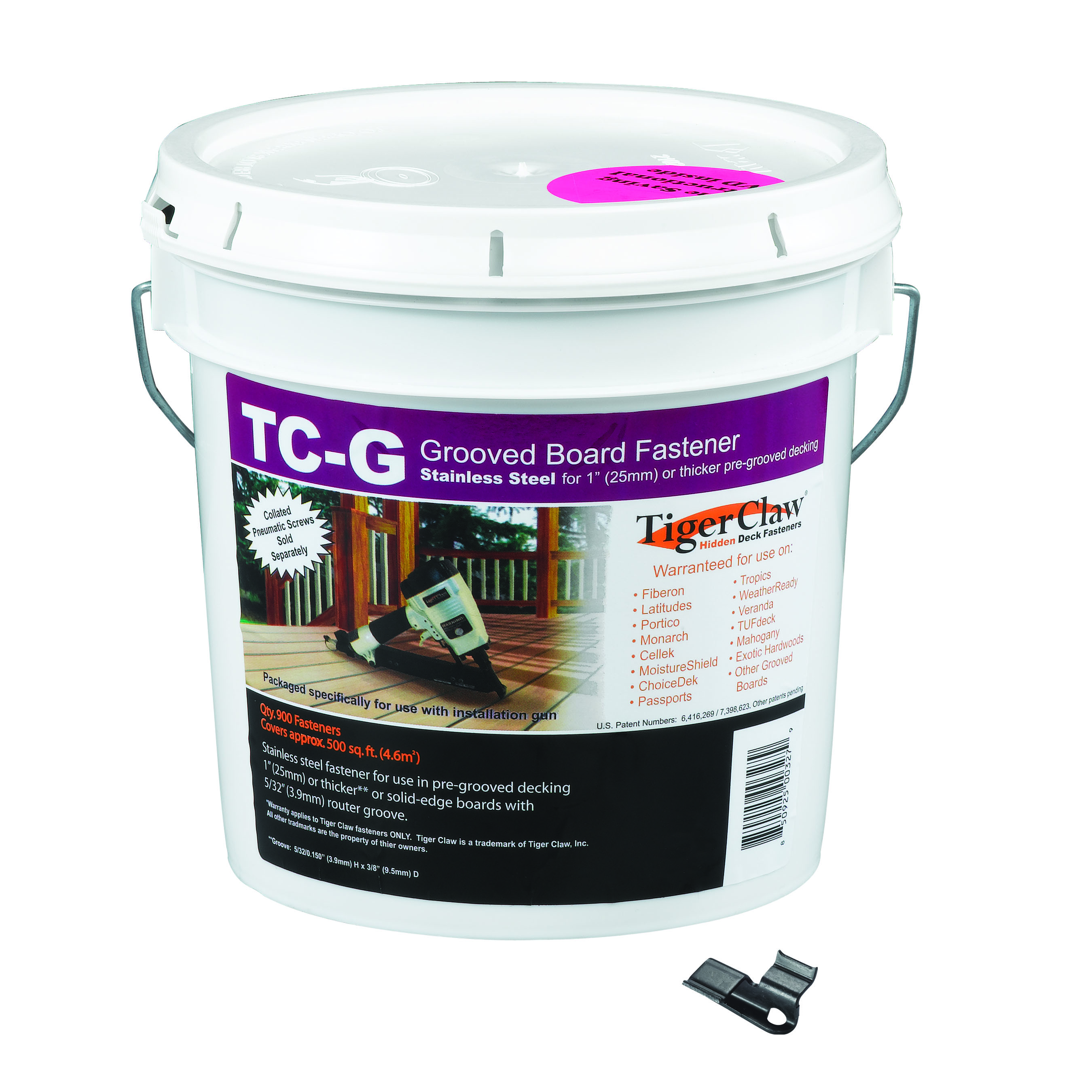 Tiger Claw TC-G 900 piece pail for grooved boards