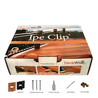 Ipe Clip with color match screws, bits and ipe plugs