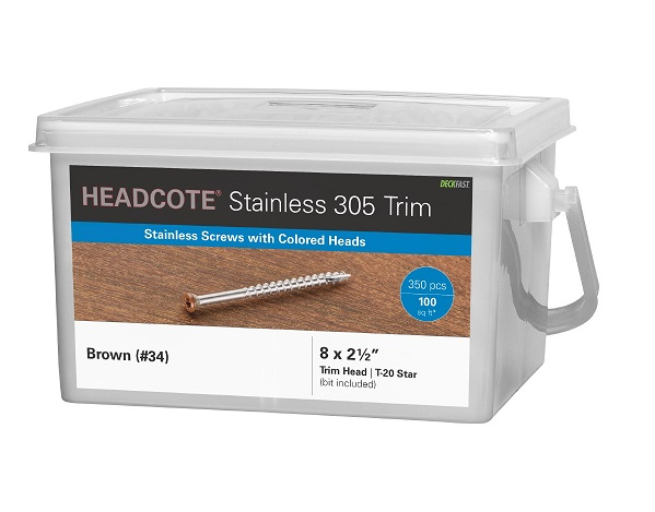"Headcote® Trim Screw  #8 x 2-1/2"" 316 Stainless Steel"