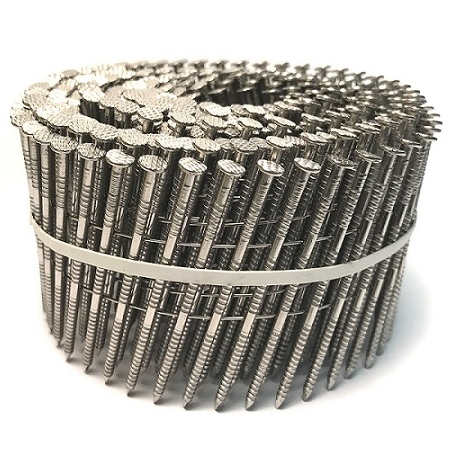 """2-1/2"""" x .092 wire coil siding nails 304SS 3.6m"""