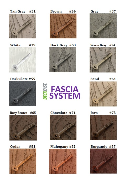 Color Swatches for the Deckfast Fascia System