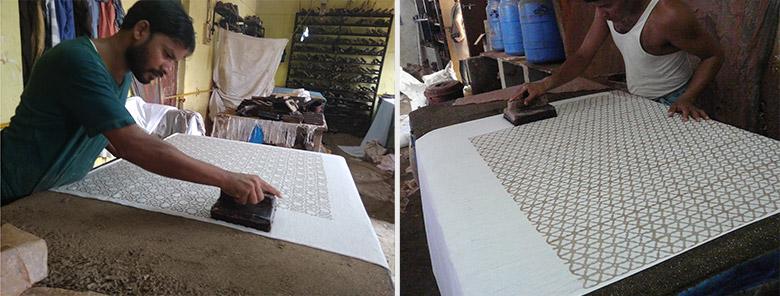 Using patterned blocks on fabric