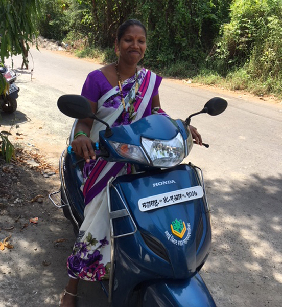 Darshana on scooter