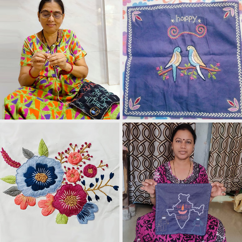 Female artisans displaying their embroidery work.