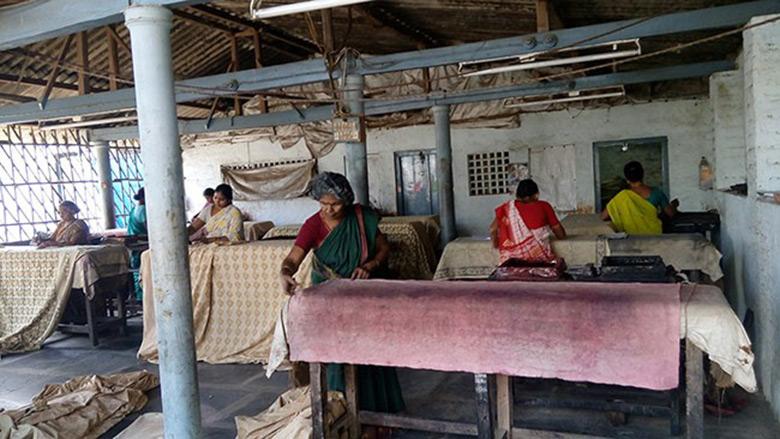 Kalamkari fabric being prepped for printing