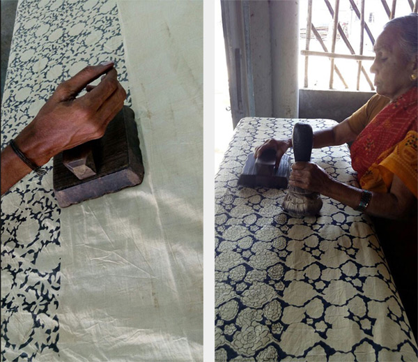 Kalamkari fabric being printed