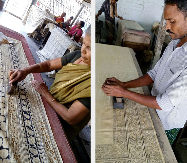 Kalamkari fabric being printed