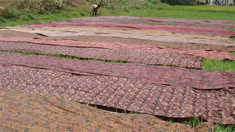 Finished Kalamkari printed fabric layout to dry