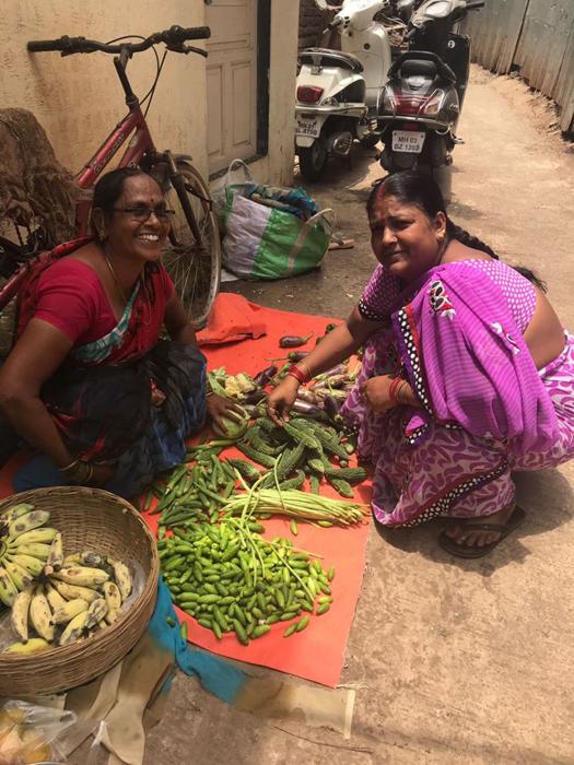 Pushpa shopping for vegetables