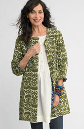 Reversible Malabar Jacket - River blue/leaf green