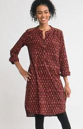 Kurta Shirt Dress - Claret