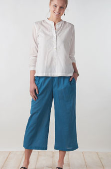 Textured Voile Culottes - Azure