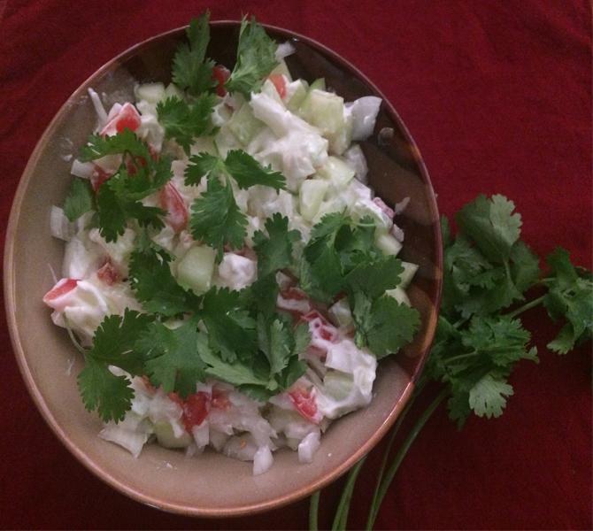 Raita: Cucumber + Cilantro Salad