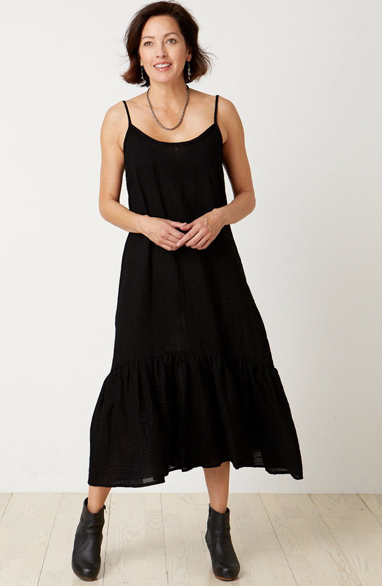 Long Cami with Ruffle - Black