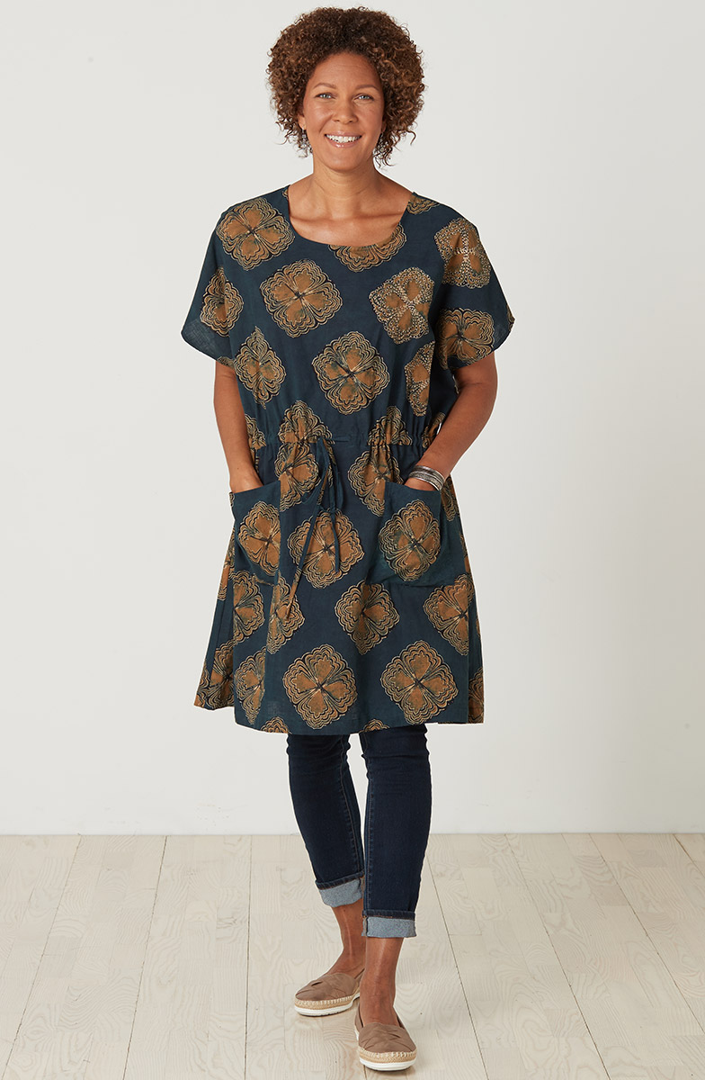 Pavani Tunic - Dark blue Gold